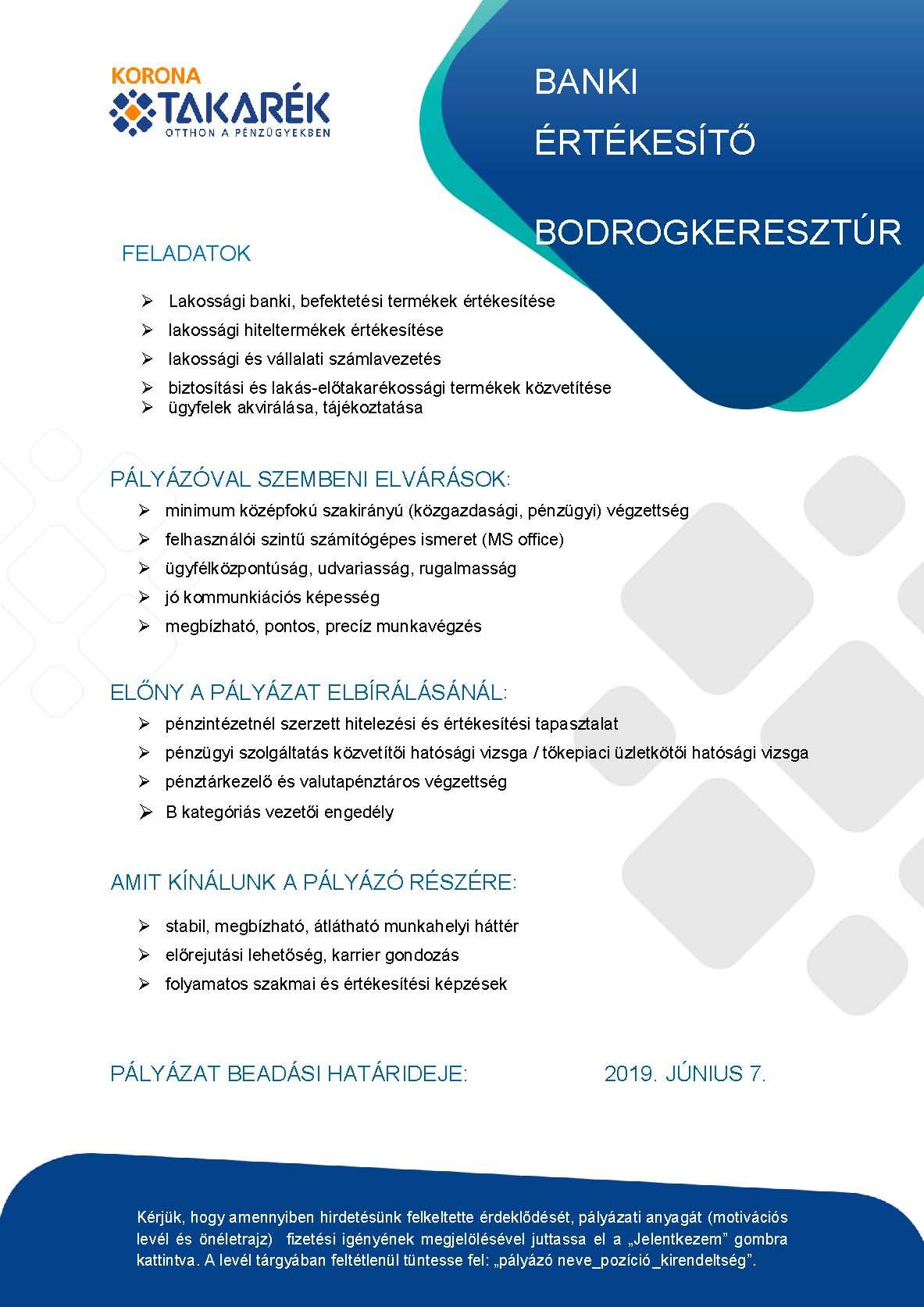 Banki értékesítő állás Bodrogkeresztúrba